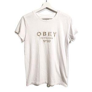 OBEY Propaganda No 89 Gold Embroidered Brand Logo Crew Neck White Tee